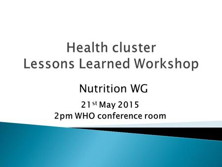 21 st May 2015 2pm WHO conference room Nutrition WG.