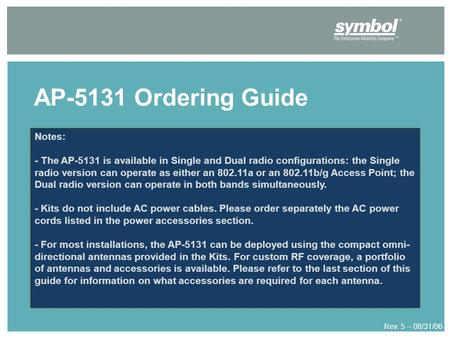 AP-5131 Ordering Guide Rev. 5 – 08/31/06 Notes: - The AP-5131 is available in Single and Dual radio configurations: the Single radio version can operate.