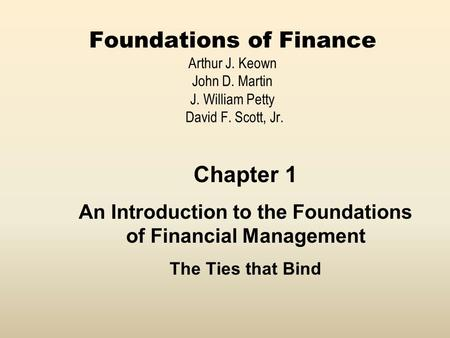 An Introduction to the Foundations of Financial Management