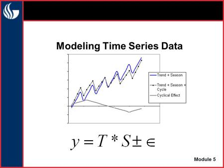 Modeling Time Series Data Module 5. A Composite Model We can fit a composite model of the form: Sales = (Trend) * (Seasonality) * (Cyclicality) * (Error)