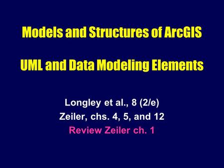 Models and Structures of ArcGIS UML and Data Modeling Elements Longley et al., 8 (2/e) Zeiler, chs. 4, 5, and 12 Review Zeiler ch. 1.