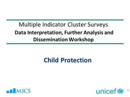 Multiple Indicator Cluster Surveys Data Interpretation, Further Analysis and Dissemination Workshop Child Protection 1.
