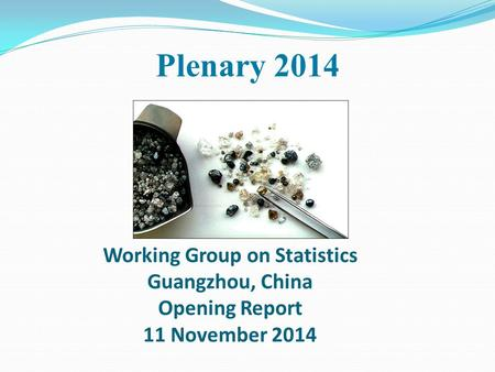 Working Group on Statistics Guangzhou, China Opening Report 11 November 2014 Plenary 2014.