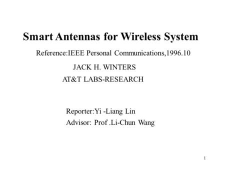 Smart Antennas for Wireless System