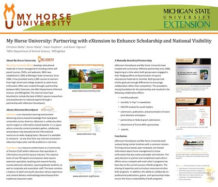 My Horse University: Partnering with eXtension to Enhance Scholarship and National Visibility Christine Skelly 1, Karen Waite 1, Gwyn Heyboer 2, and Karen.