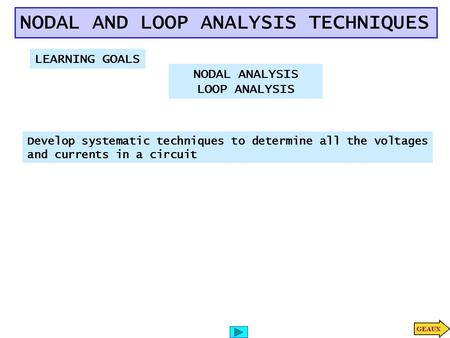 NODAL AND LOOP ANALYSIS TECHNIQUES LEARNING GOALS Develop systematic techniques to determine all the voltages and currents in a circuit NODAL ANALYSIS.