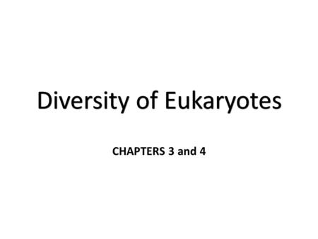 Diversity of Eukaryotes CHAPTERS 3 and 4. The Mind-Boggling Diversity of Life The Eukarya domain contains four kingdoms – Protista – Plantae – Fungi –