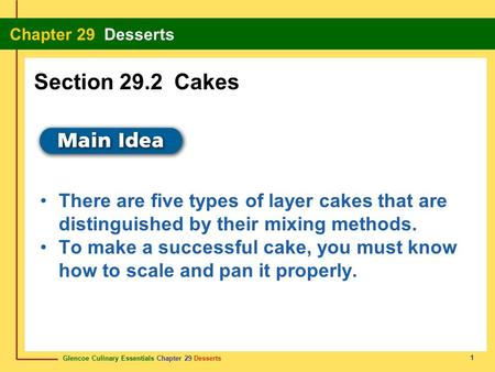 Section 29.2 Cakes There are five types of layer cakes that are distinguished by their mixing methods. To make a successful cake, you must know how to.