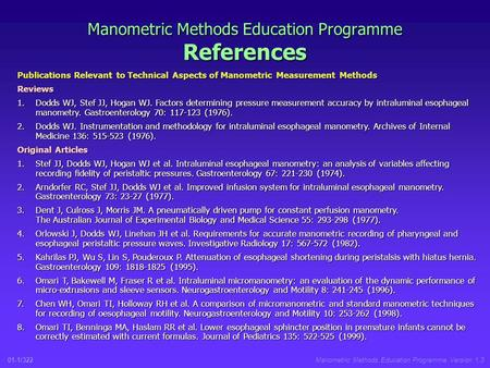 01-1/322Manometric Methods Education Programme Version 1.3 Manometric Methods Education Programme References Publications Relevant to Technical Aspects.