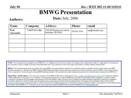 Doc.: IEEE 802.11-06/1102r0 Submission July 06 Tom Alexander, VeriWaveSlide 1 BMWG Presentation Notice: This document has been prepared to assist IEEE.
