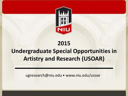 2015 Undergraduate Special Opportunities in Artistry and Research (USOAR)