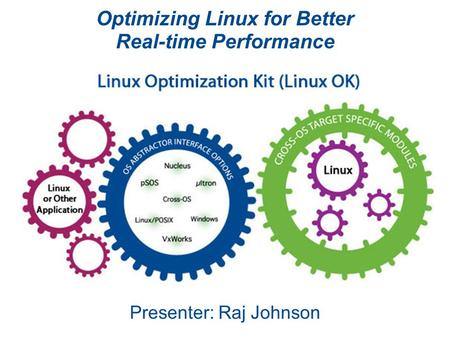 Optimizing Linux for Better Real-time Performance Presenter: Raj Johnson.