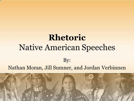 Rhetoric Native American Speeches