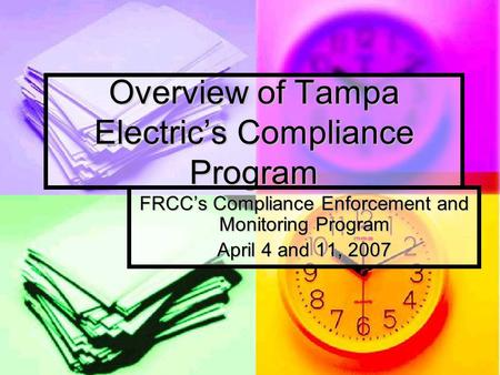 Overview of Tampa Electric's Compliance Program FRCC's Compliance Enforcement and Monitoring Program April 4 and 11, 2007.