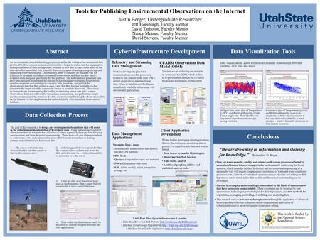 Tools for Publishing Environmental Observations on the Internet Justin Berger, Undergraduate Researcher Jeff Horsburgh, Faculty Mentor David Tarboton,