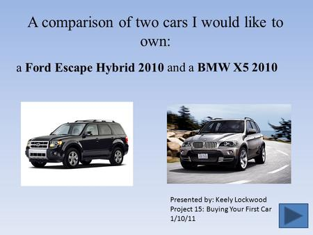 A comparison of two cars I would like to own: Presented by: Keely Lockwood Project 15: Buying Your First Car 1/10/11 a Ford Escape Hybrid 2010 and a BMW.