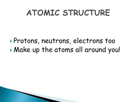  Protons, neutrons, electrons too  Make up the atoms all around you!