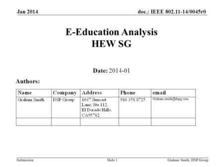 Doc.: IEEE 802.11-14/0045r0 Submission Jan 2014 E-Education Analysis HEW SG Date: 2014-01 Authors: Graham Smith, DSP GroupSlide 1.