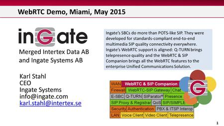 WebRTC Demo, Miami, May 2015 1 Ingate's SBCs do more than POTS-like SIP. They were developed for standards-compliant end-to-end multimedia SIP quality.