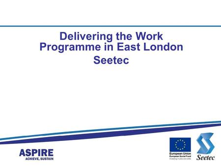 Delivering the Work Programme in East London Seetec.