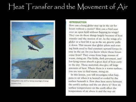 Heat Transfer and the Movement of Air