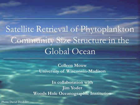Satellite Retrieval of Phytoplankton Community Size Structure in the Global Ocean Colleen Mouw University of Wisconsin-Madison In collaboration with Jim.