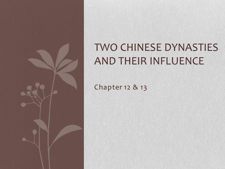 TWO CHINESE DYNASTIES AND THEIR INFLUENCE Chapter 12 & 13.