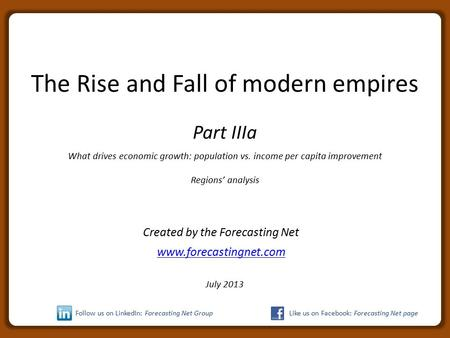 The Rise and Fall of modern empires Part IIIa What drives economic growth: population vs. income per capita improvement Regions' analysis Created by the.