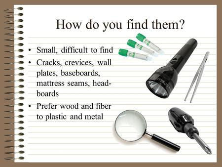 How do you find them? Small, difficult to find Cracks, crevices, wall plates, baseboards, mattress seams, head- boards Prefer wood and fiber to plastic.