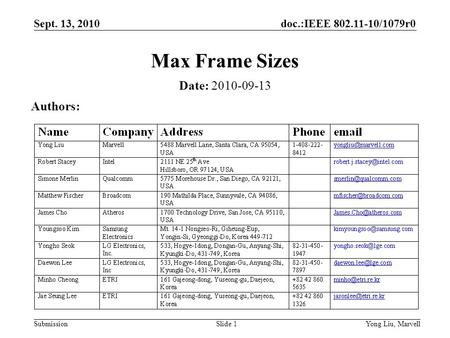 Doc.:IEEE 802.11-10/1079r0 Submission Sept. 13, 2010 Yong Liu, MarvellSlide 1 Max Frame Sizes Date: 2010-09-13 Authors: