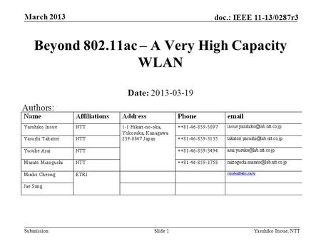 Submission doc.: IEEE 11-13/0287r3 March 2013 Yasuhiko Inoue, NTTSlide 1 Beyond 802.11ac – A Very High Capacity WLAN Date: 2013-03-19 Authors: