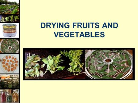DRYING FRUITS AND VEGETABLES. Food Dehydration  Heat: removing moisture, but not cook  Dry Air: to absorb released moisture  Air Circulation: to carry.