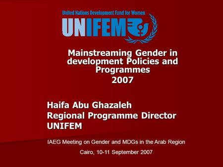 Mainstreaming Gender in development Policies and Programmes 2007 Haifa Abu Ghazaleh Regional Programme Director UNIFEM IAEG Meeting on Gender and MDGs.