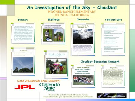 An Investigation of the Sky - CloudSat CloudSat Education Network Wagner Ranch Elementary Orinda, California Maddie, Kaiser, Grant, Giannie, Julia, Kate,