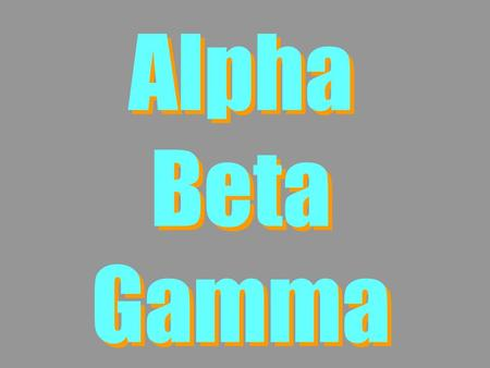 Alpha Beta Gamma. Lesson Contents 1.Physical properties of ,  and  2.Penetrating power of ,  and  3.N v Z  graphs 4.Decay laws.