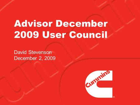 Advisor December 2009 User Council David Stevenson December 2, 2009.