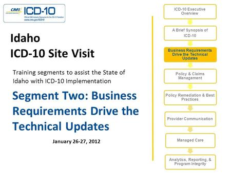 Segment Two: Business Requirements Drive the Technical Updates January 26-27, 2012 Idaho ICD-10 Site Visit Training segments to assist the State of Idaho.