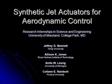 Synthetic Jet Actuators for Aerodynamic Control