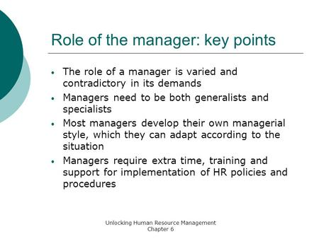 Role of the manager: key points