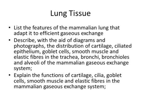Lung Tissue List the features of the mammalian lung that adapt it to efficient gaseous exchange Describe, with the aid of diagrams and photographs, the.