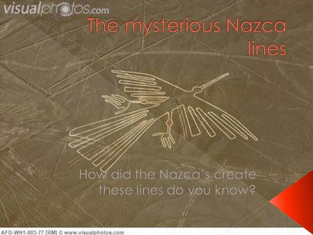  The Nazca lines are series of lines that are ancient geoglyphics that are located in the Nazca Dessert in the southern Peru.