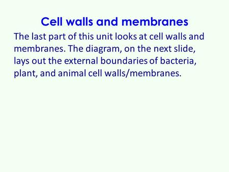 Cell walls and membranes The last part of this unit looks at cell walls and membranes. The diagram, on the next slide, lays out the external boundaries.