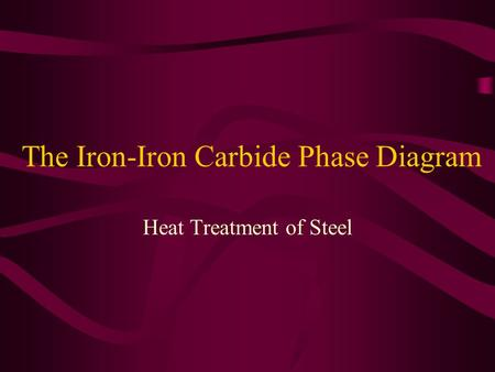 The Iron-Iron Carbide Phase Diagram