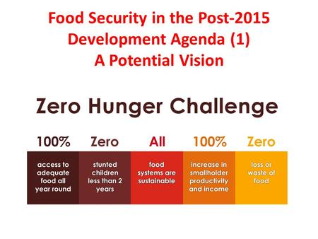 Food Security in the Post-2015 Development Agenda (1) A Potential Vision.