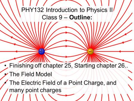 Finishing off chapter 25, Starting chapter 26.. The Field Model The Electric Field of a Point Charge, and many point charges PHY132 Introduction to Physics.