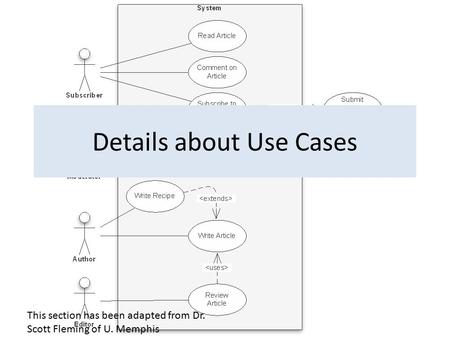This section has been adapted from Dr. Scott Fleming of U. Memphis Details about Use Cases.