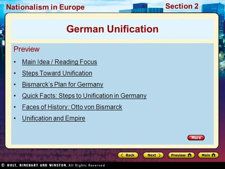 German Unification Preview Main Idea / Reading Focus