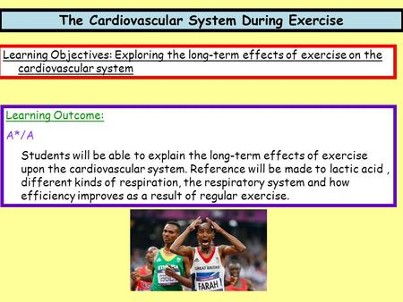 The Cardiovascular System During Exercise Learning Objectives: Exploring the long-term effects of exercise on the cardiovascular system Learning Outcome:
