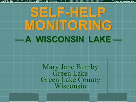 SELF-HELP MONITORING — A WISCONSIN LAKE — Mary Jane Bumby Green Lake Green Lake County Wisconsin.