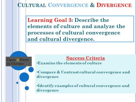 C ULTURAL C ONVERGENCE & D IVERGENCE Learning Goal 3: Describe the elements of culture and analyze the processes of cultural convergence and cultural divergence.
